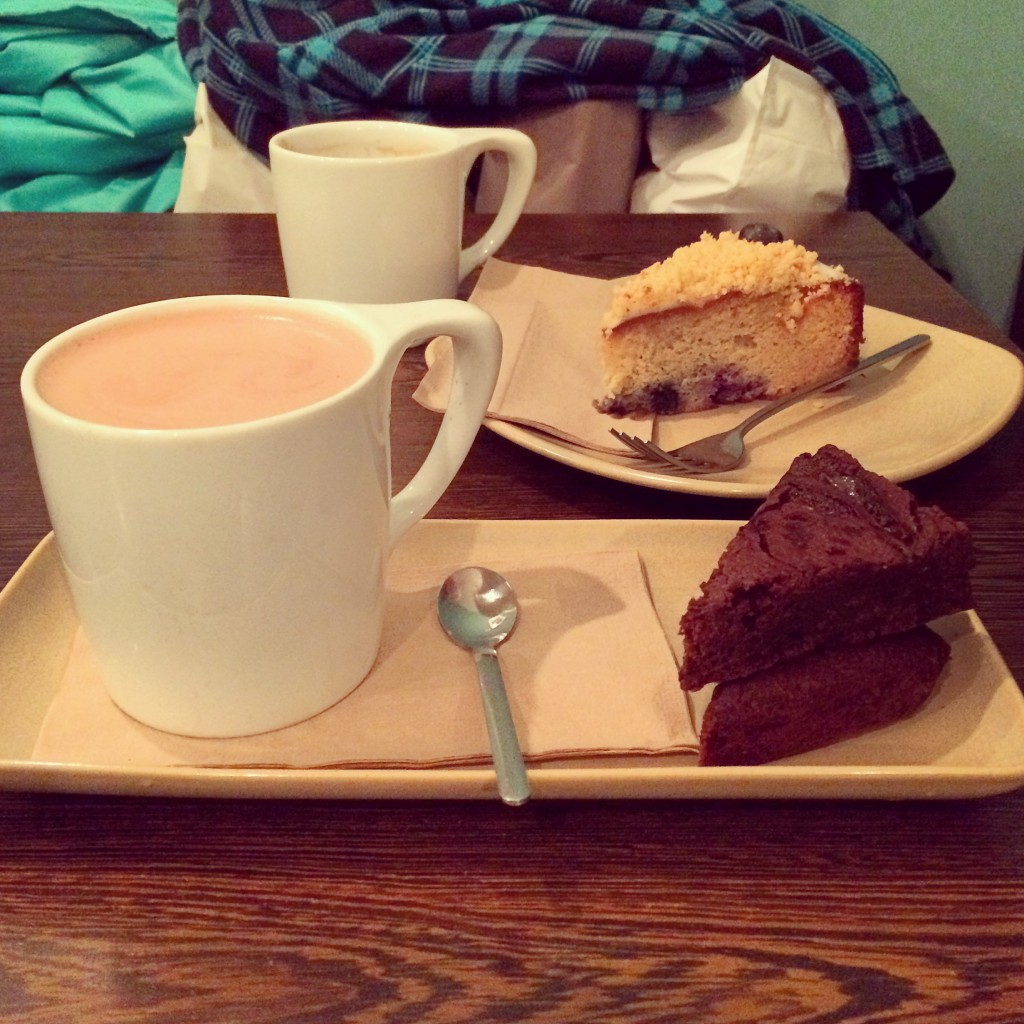 Hot chocolate and salted caramel brownie, and an Americano and blueberry lemon cake