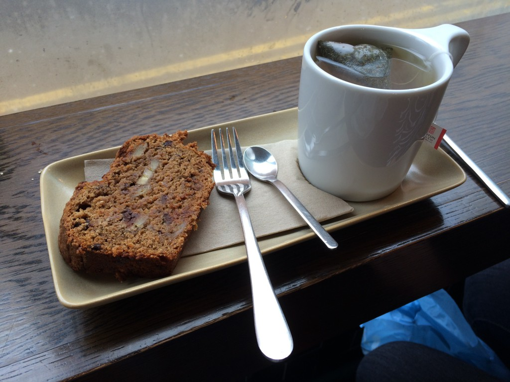 Chocolate banana loaf with peppermint tea