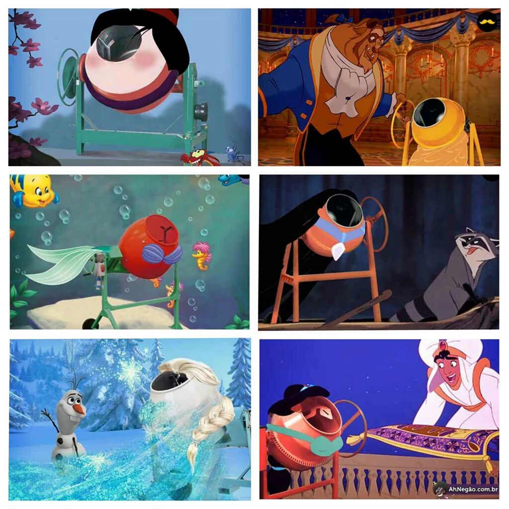Disney princesses reimagined as cement mixers