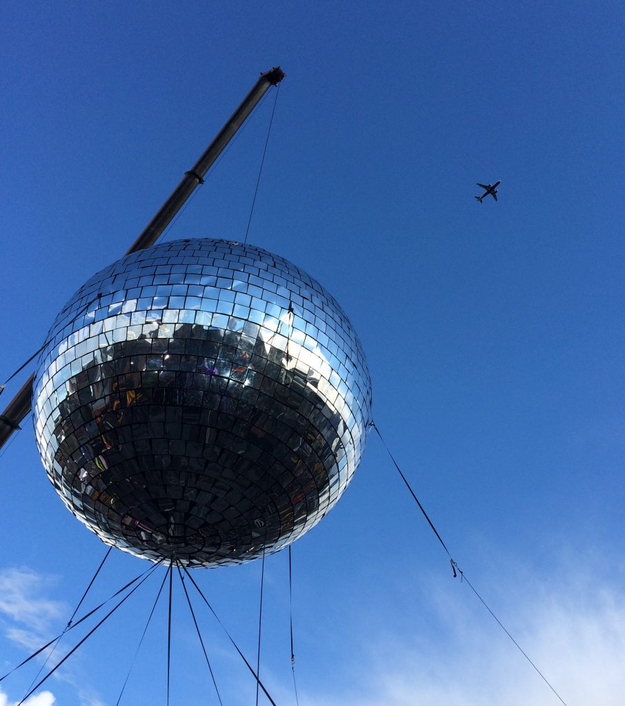 Disco ball and plane