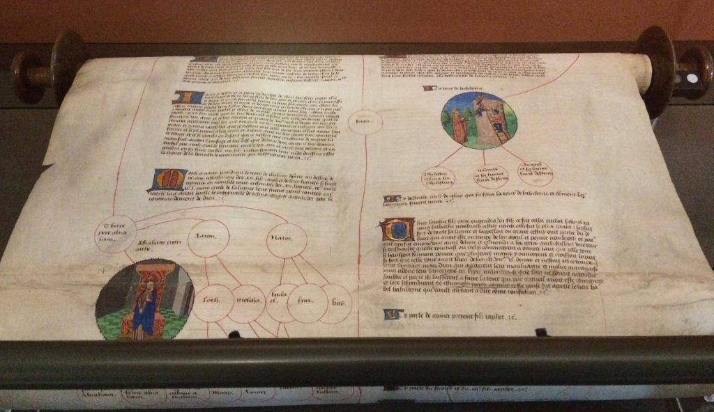 Genealogical History Roll, France, 1461-1483. Members of the library staff had made an ingenious smaller version of this scroll so that they could take it about and show people using two rolling pins from Wilkos!