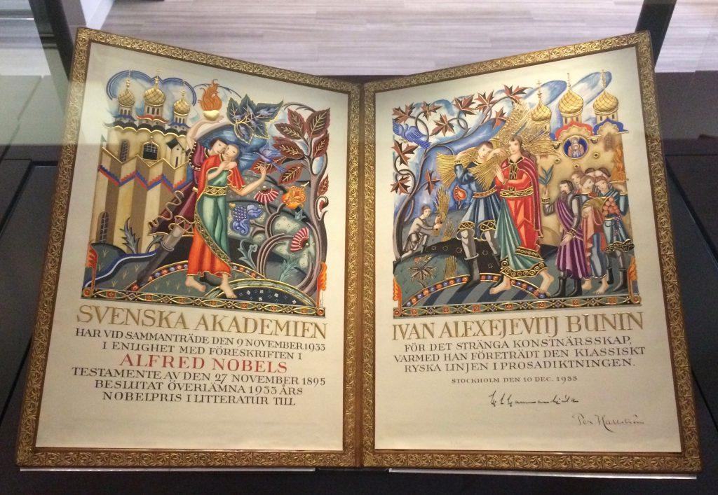 Ivan Bunin's Nobel Prize certificate, 1933