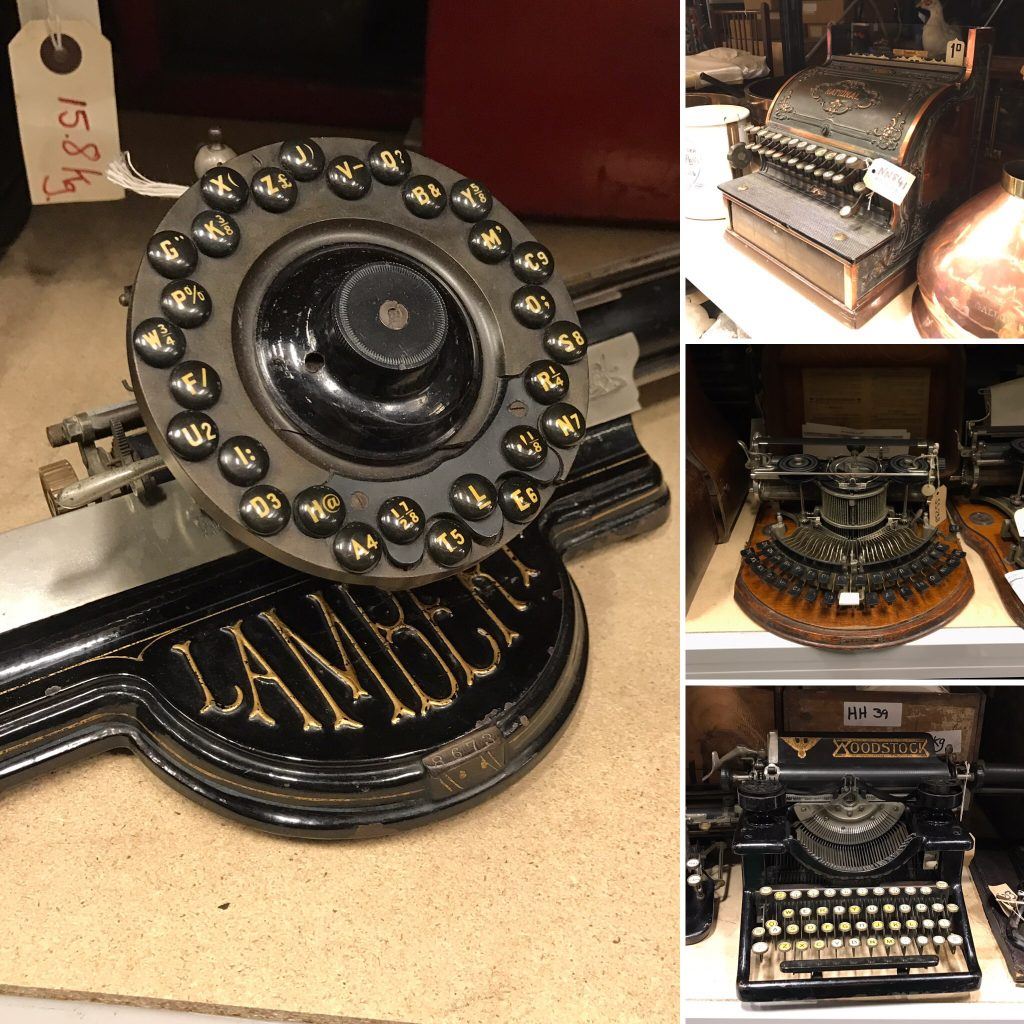 Group of 4 photos of old typewriters and a till