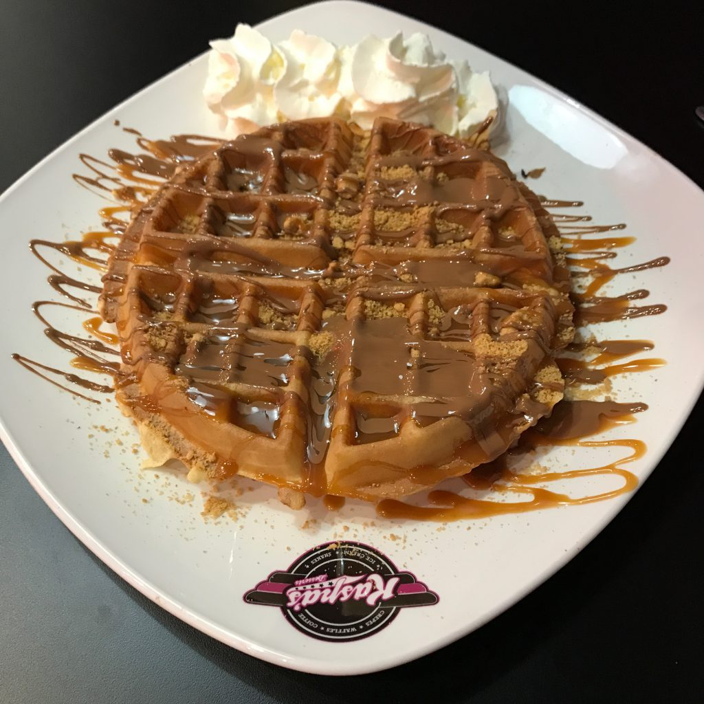 Waffle and cream